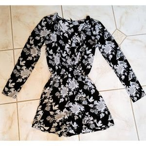H&M Black and White Floral Romper
